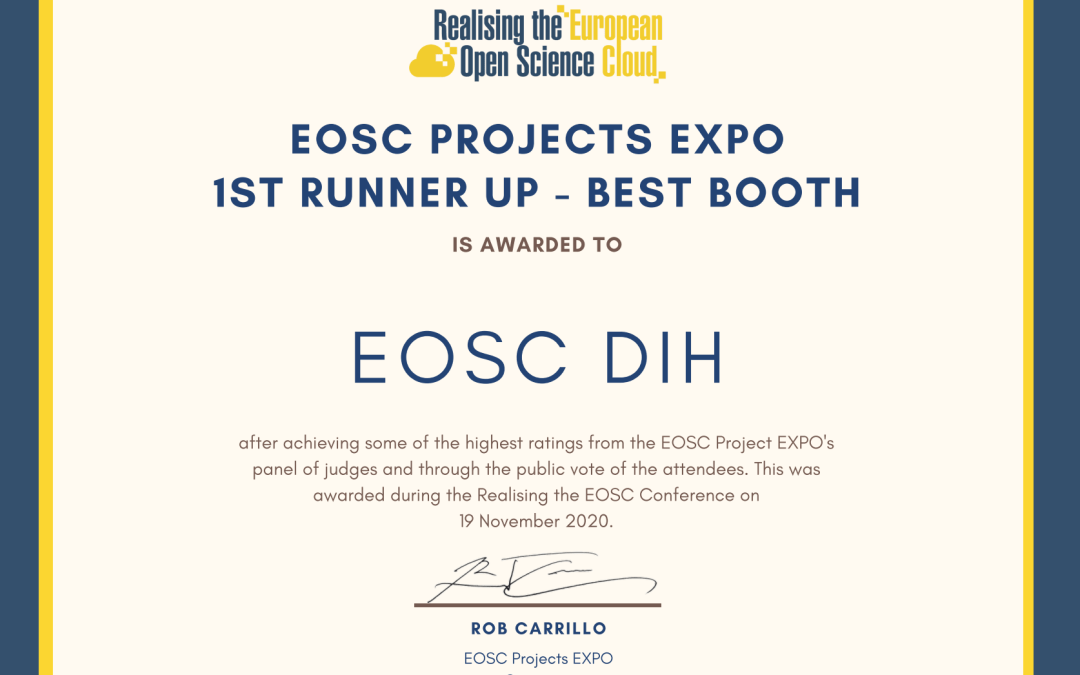 EOSC DIH awarded 1st runner up for the best virtual booth